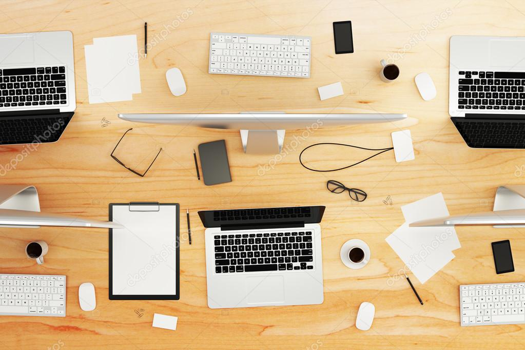 Table With Office Accessories And Computers Stock Photo Peshkov - Conference table accessories
