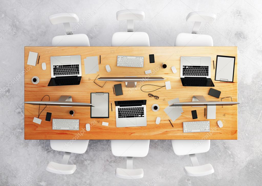 Conference Table With Office Accessories And Computers U2014 Stock Photo