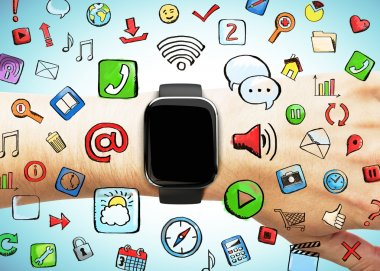 Smartwatch with social media icons