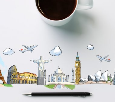 Travel landmarks with cup of coffee