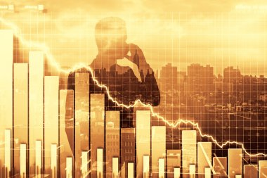 Double exposure of crisis illustration with business graph and m