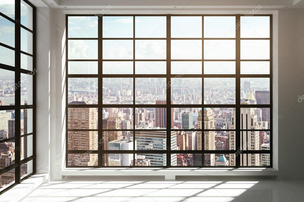 Floor to ceiling windows with city view stock photo - Finestre panoramiche ...