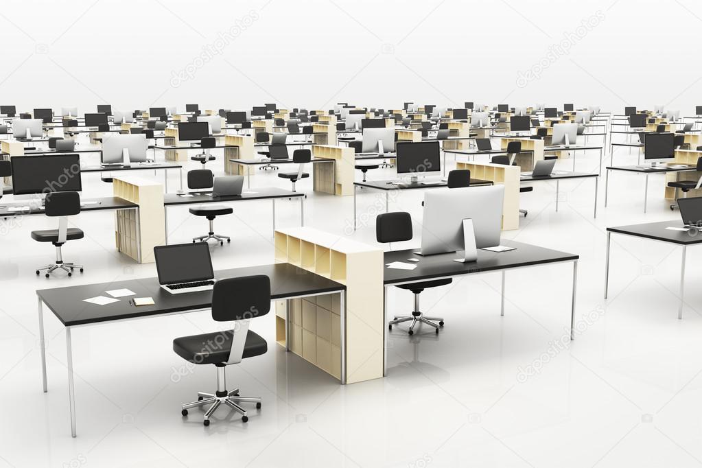 Bureau Open Space Moderne : Bureau d openspace moderne avec des meubles u photographie peshkov