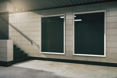 Two blank black billboard in subway, mock up
