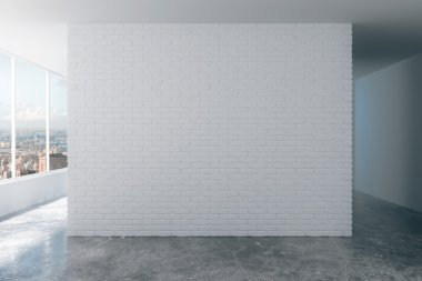 White brick wall in loft room with city view