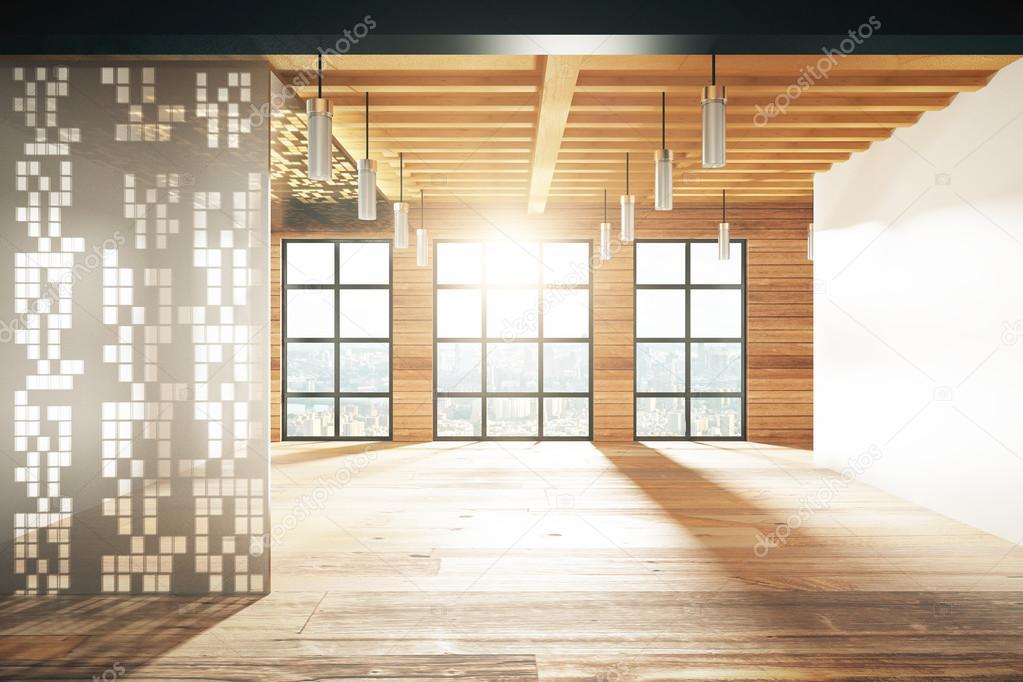 Leer Modernes Zimmer Mit Fenster Im Boden Und Holzboden Stockfoto