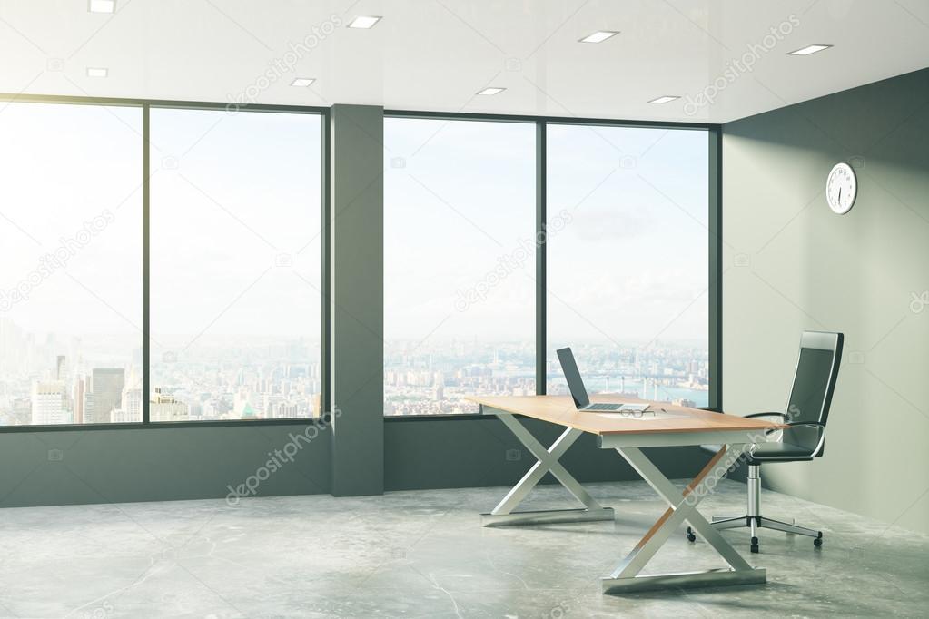 Ufficio Stile Moderno : Ufficio stile loft con mobili moderni e vista sulla città u foto