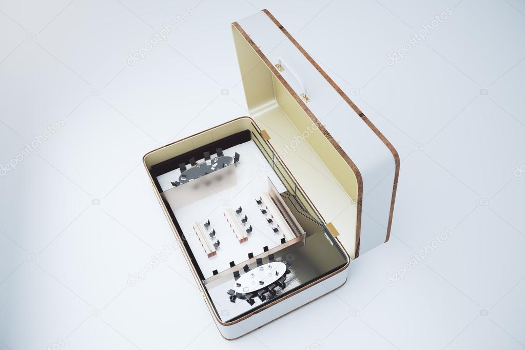 Mobilen Konferenzraum Mit Möbel Konzept In Weißen Koffer Stockfoto