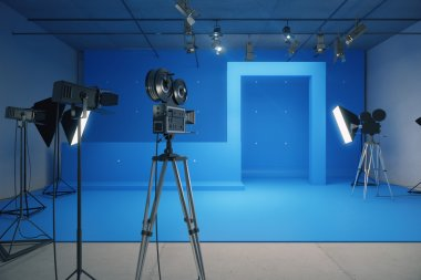 Blue style decoration for movie filming with vintage cameras