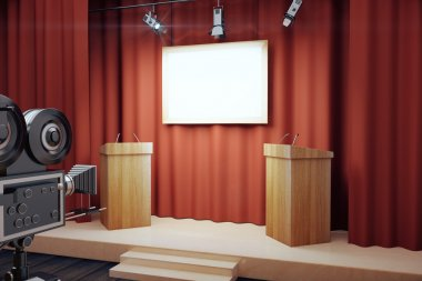 Blank white poster in conference hall with tribune and vintage c