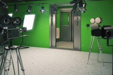 Film studio scenery wagon train with movie cameras