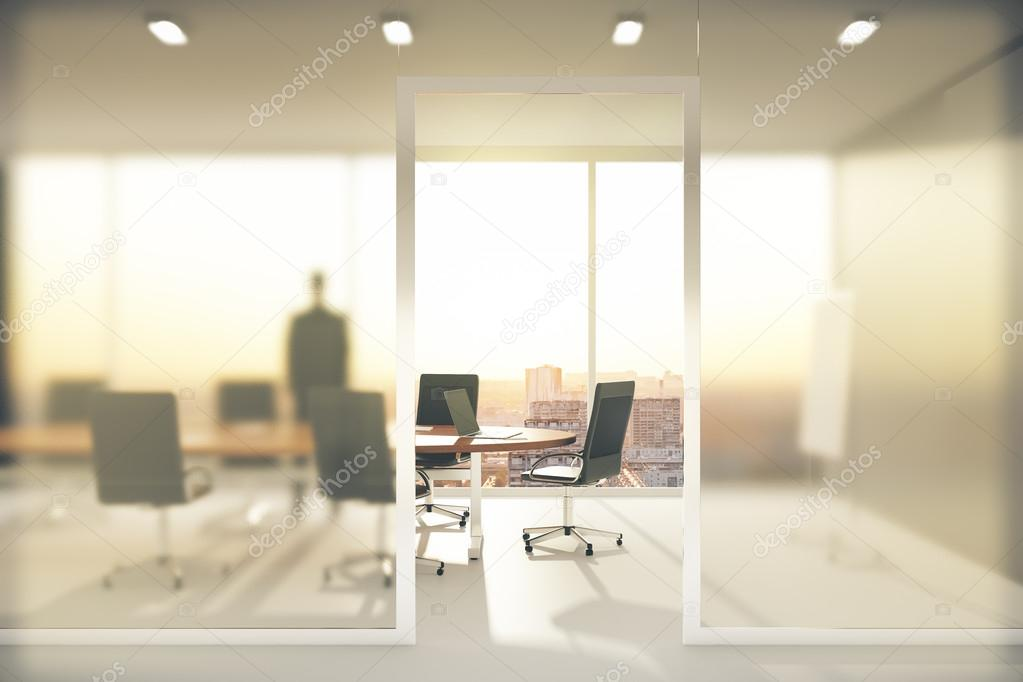 Meeting Room With Frosted Glass Walls Stock Photo Peshkov - Frosted glass conference room table