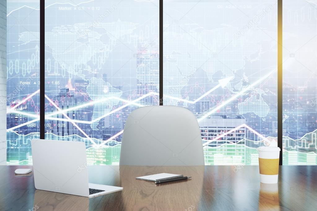 Dubbele blootstelling met moderne bureau en zakelijke grafieken