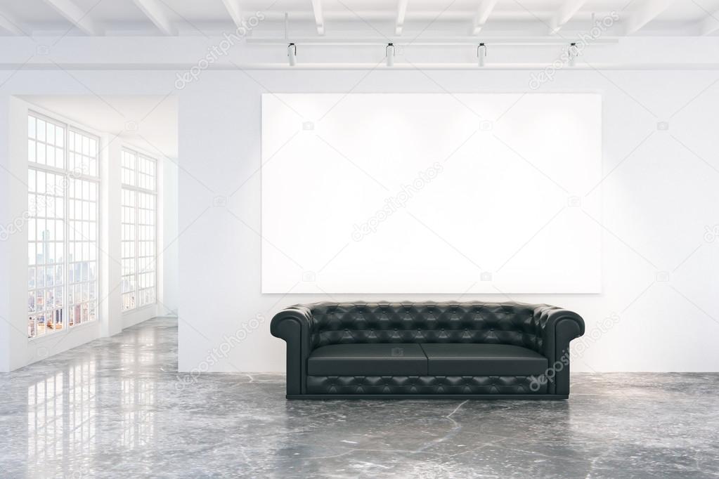 Wondrous Blank White Poster On White Wall With Black Leather Sofa On Machost Co Dining Chair Design Ideas Machostcouk