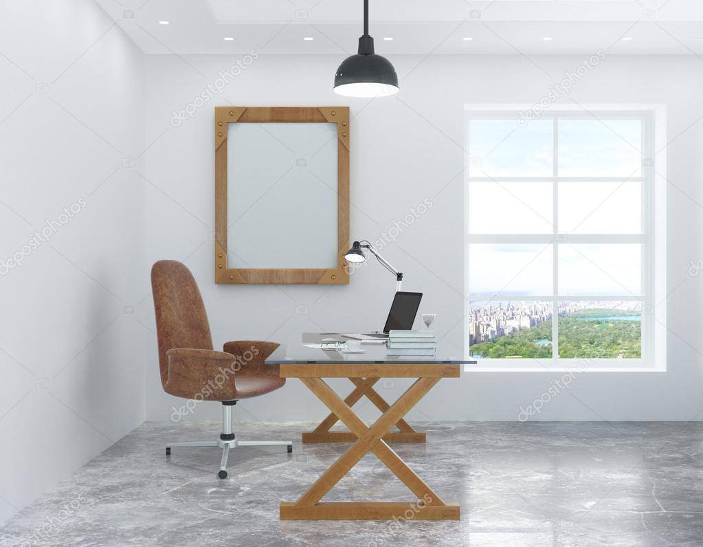 Witte kamer in de loft stijl met een bureau en stoel en een afbeelding stockfoto peshkov - Witte muur kamer ...