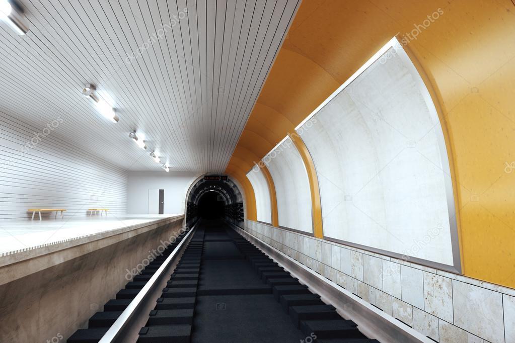Decoratie Interieur Corridor : Interieur metrostation met lege reclameborden mock up u stockfoto