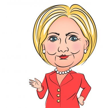 Caricature of United States democratic presidential candidate Hillary Clinton