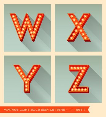 Vintage light bulb sign letters w, x, y, z