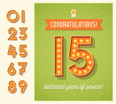 greeting card, invitation design with set of lighted retro numbers. easy to edit.