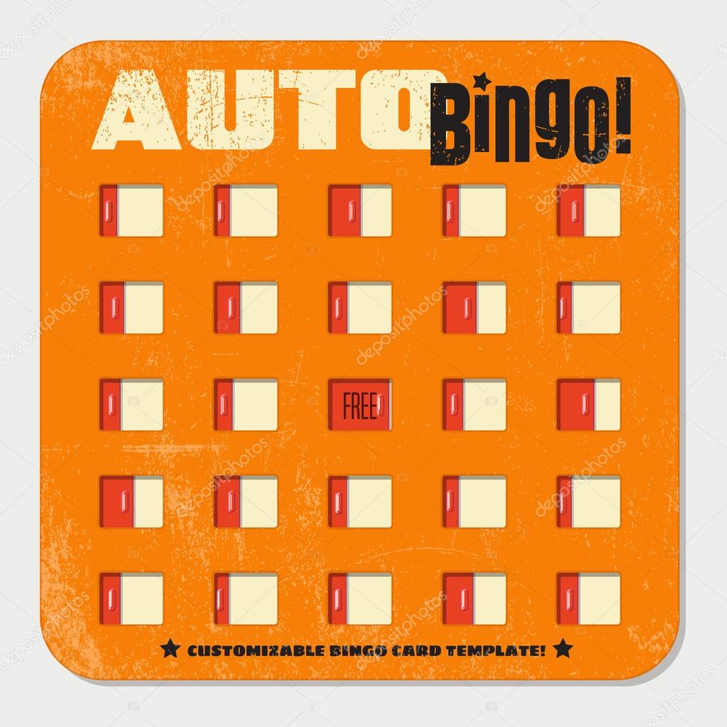 retro bingo card template with sliding windows vintage game board