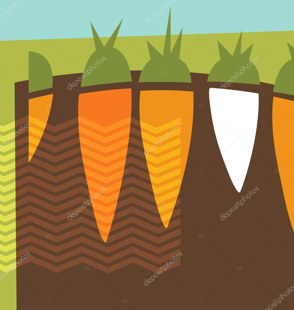 Abstract carrots growing collage illustration