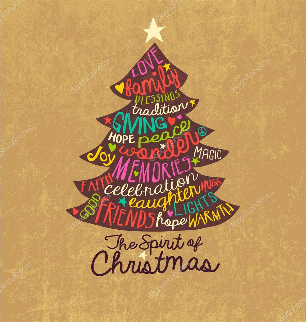 Christmas Card Word Cloud tree design Stock Vector TeddyandMia