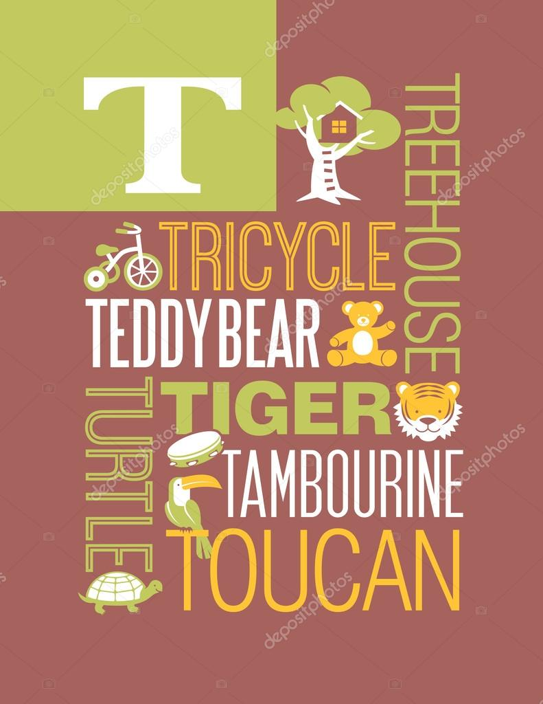 Poster design typography - Letter T Typography Illustration Alphabet Poster Design With Words That Start With T Stock Vector