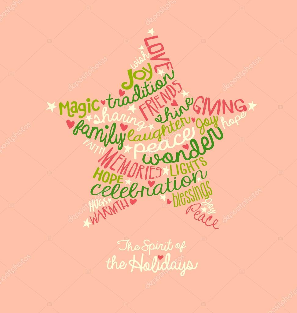 Handwritten Christmas star card Word Cloud design Stock Vector