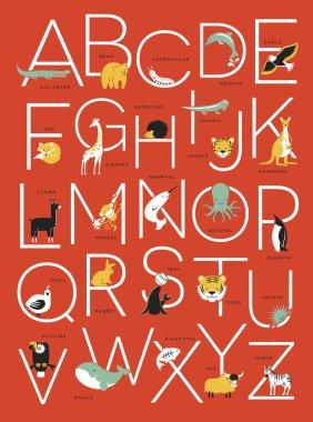 Animal alphabet poster design
