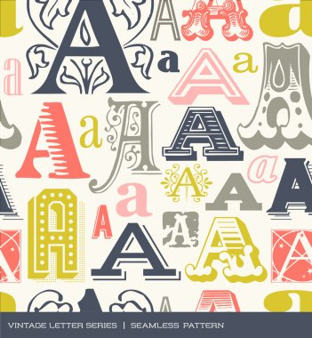 Seamless vintage pattern of the letter a in retro colors