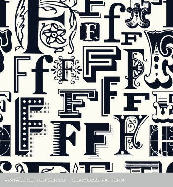 Seamless vintage pattern of the letter f