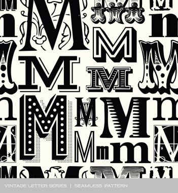 Seamless vintage pattern of the letter m