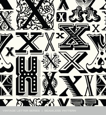 Seamless vintage pattern of the letter x
