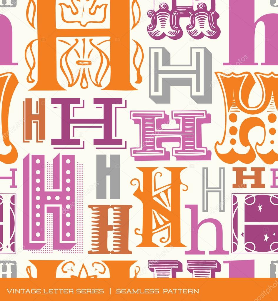 Nahtlose Jahrgang Muster Des Buchstabens H In Retro Farben