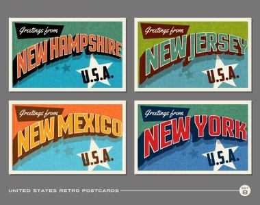 United States vintage typography postcard designs clip art vector