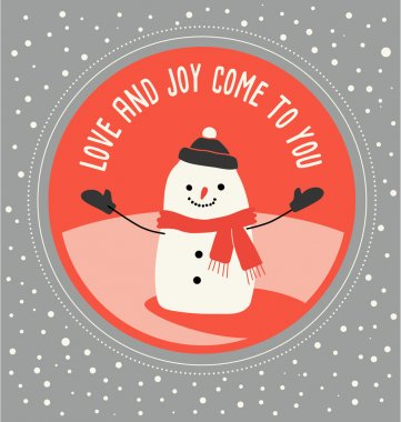 Christmas greeting card design with happy snowman drawn in flat syle