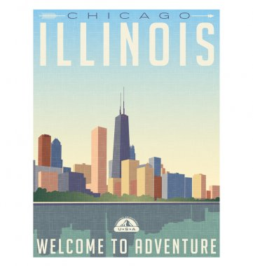Retro style travel poster or sticker. United States, Illinois, Chicago skyline