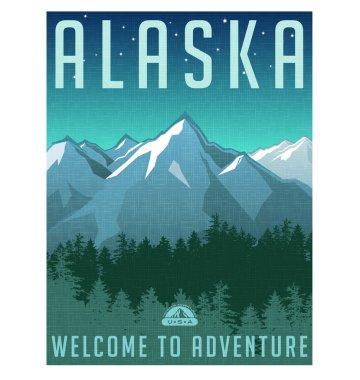 Retro style travel poster or sticker. United States, Alaska Mountains