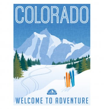 Retro style travel poster or sticker. United States, Colorado. Rocky Mountain scene with skiing tracks