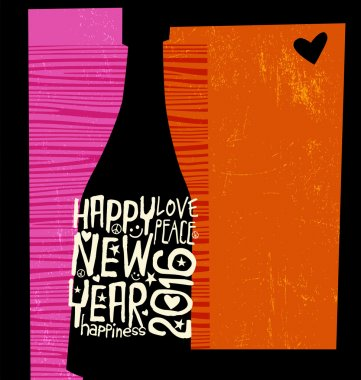 Happy New Year 2016 retro design with text space