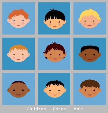 set of cute children's faces. boys. flat style. different ethnic groups.