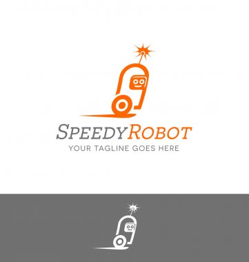 vector logo design of a robot character for technology or computer related services