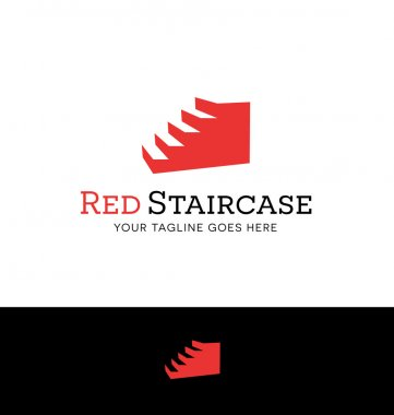 logo design of a red staircase for business. steps to success
