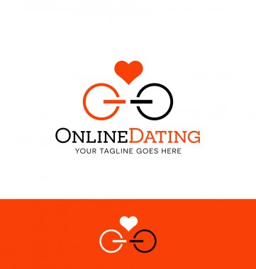 Logo design for online dating. power icons facing each other. clip art vector