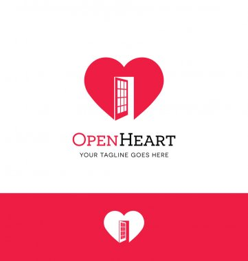 Heart logo with an open door for charity, counseling, or giving organization