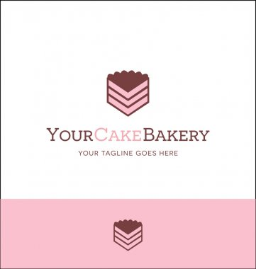 piece of cake logo for bakery or catering business