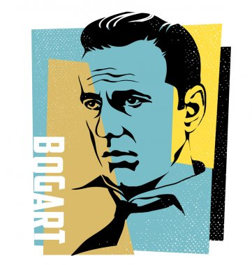 November 16, 2015, vector Illustration of actor Humphrey Bogart in retro style.