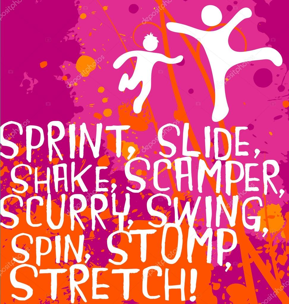 Active Kids With Motivational Text On Colorful Splash Background Fitness Poster Series Vector By TeddyandMia