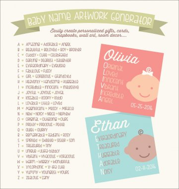 Template for making graphic designs with baby names