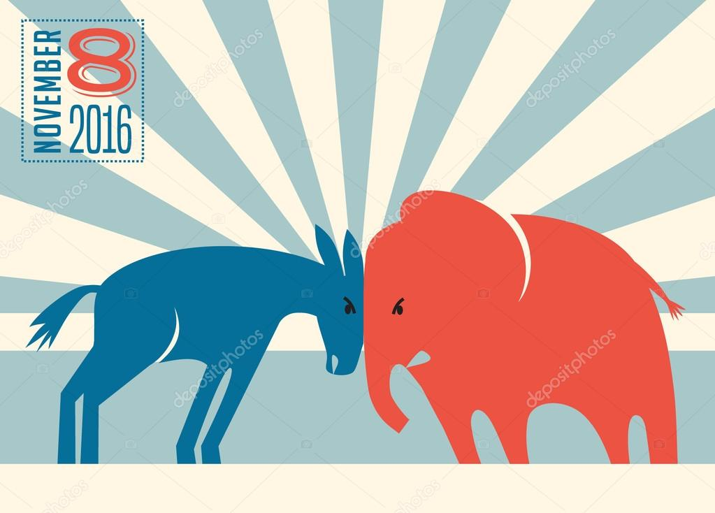 democrat donkey and republican elephant butting heads stock vector
